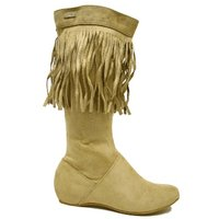 View Item NEW BEIGE TASSEL FLAT SUEDE EFFECT BOHO BOOTS SIZE 3-8